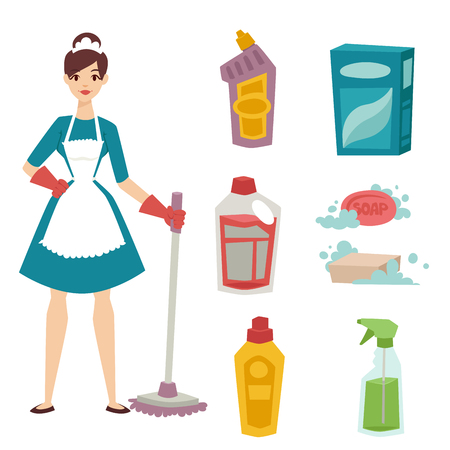 homemaker: Housewife girl homemaker cleaning pretty girl wash cleanser chemical housework product equipment vector.