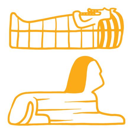 Egypt travel history sybols hand drawn design traditional hieroglyph vector illustration style. Reklamní fotografie - 77624071