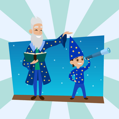 Astronomer grandfather with little boy vision person astronomy science observatory vector illustration.