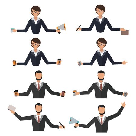 Business woman office job stress work vector illustration man person manager character