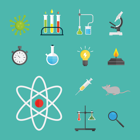 Lab symbols test medical laboratory scientific biology design molecule microscope concept and biotechnology science chemistry icons vector illustration. Stock Vector - 77689545