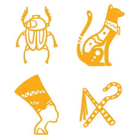 이집트 여행 역사 sybols 손으로 그려진 된 디자인 전통적인 hieroglyph 벡터 그림 스타일. 일러스트