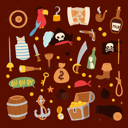 Pirate stickers iconen vector collectie avontuur symbolen Stock Illustratie