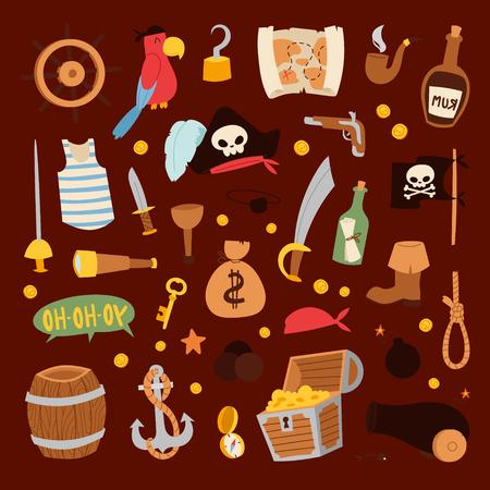 Pirate stickers iconen vector collectie avontuur symbolen Stockfoto - 77661803