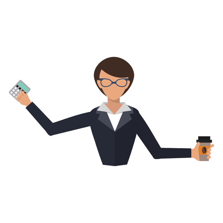 Business woman office job stress work vector illustration person manager character Ilustracja