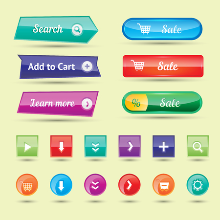 icons site search: Colorful website buttons design vector illustration glossy graphic label internet template banner.