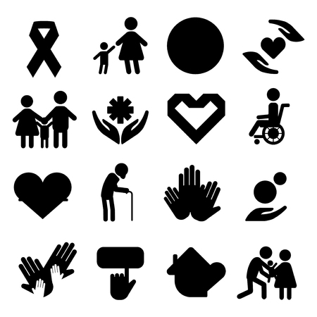 donating: Volunteer silhouettecharity donation vector set humanitarian awareness hand hope aid support people Illustration