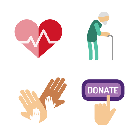 Volunteer icons charity donation vector set humanitarian awareness hand hope aid support people Illustration
