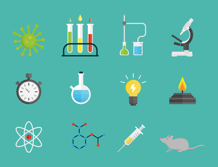Lab symbols test medical laboratory scientific biology design molecule microscope concept and biotechnology science chemistry icons vector illustration. Stock Vector - 77744667