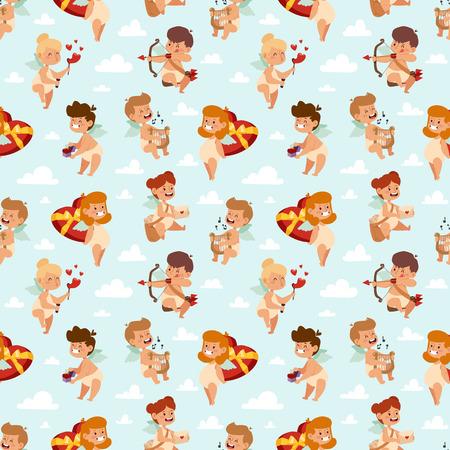 Valentine Day cupid angels cartoon style vector illustration semless pattern