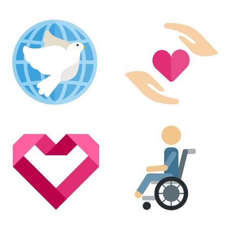 Volunteer icons charity donation vector set humanitarian awareness hand hope aid support Illustration