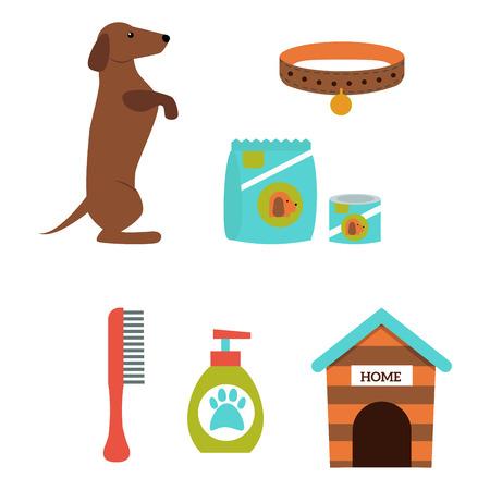 Tekkelhond die vectorillustratieelementen spelen die vlakke binnenlandse huisdierenaccessoire van het stijlpuppy plaatsen.