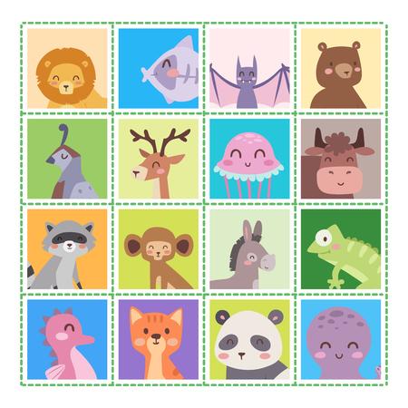 かわいい動物園漫画動物分離面白い野生動物がかわいい言語を学ぶし、熱帯の自然サファリ哺乳類ジャングル背の高い文字ベクトル イラスト。
