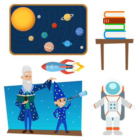 Astrology astronomy icons planet science universe space radar cosmos sign universe vector illustration. Ilustração