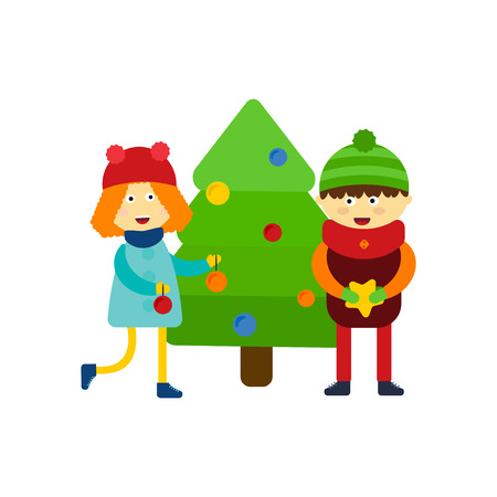 Christmas kids playing winter games skiing cartoon new year winter holidays characters vector illustration.