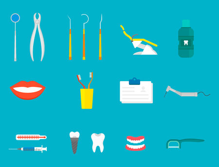Flat health care dentist medical tools medicine instrument hygiene stomatology vector illustration.