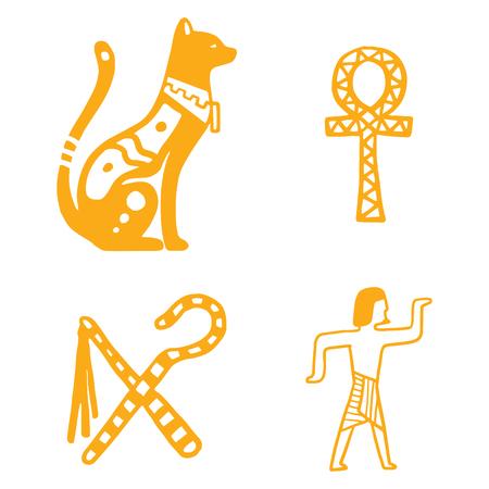 エジプト旅行の歴史のアイコンと文字の手描きデザイン伝統的な象形文字はベクトル図スタイル ファラオ ピラミッドです。考古学の記号はアンティ