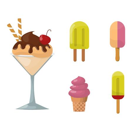 Sweet cartoon cold ice cream set and tasty cartoon frozen ice cream collection vector delicious. Set of ice cartoon colorful ice-cream desserts. Chocolate and milk icecream vector illustration