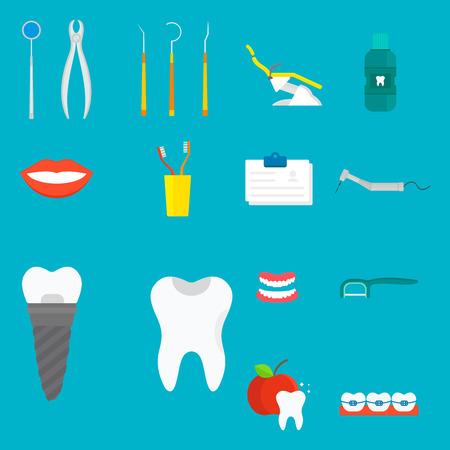 Plano de atención de la salud dentista herramientas médicas instrumento de medicina higiene estomatología ilustración vectorial. Foto de archivo - 77958076
