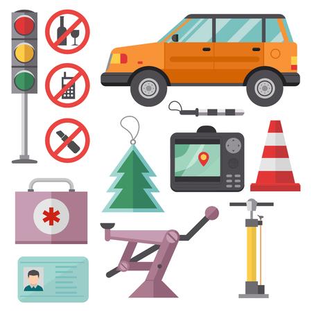Auto vervoer automobilist pictogram symbool voertuig apparatuur service auto bestuurder tools vector illustratie. Stock Illustratie