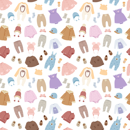 Vector baby clothes seamless pattern background Illustration