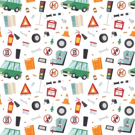 Auto transport motorist icon symbol vehicle equipment service car driver seamless pattern vector illustration.