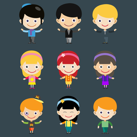 Girl portrait fun happy boy young expression cute teenager cartoon character little kid vector illustration.