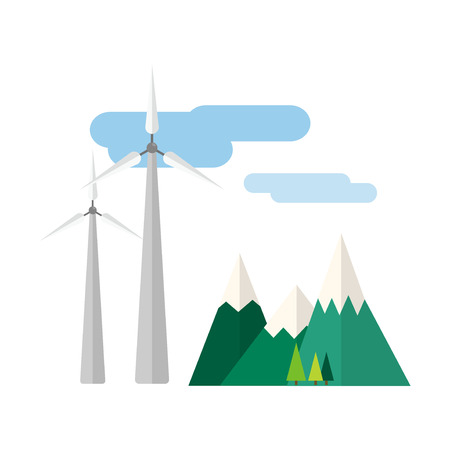 Power alternative energy and eco turbine wind station technology renewable nature vector illustration Illustration