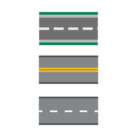Template set of straight asphalt roads highways vector illustrations asphalt way journey transportation