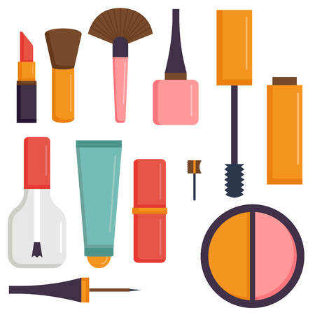 Makeup icons perfume mascara care brushes comb faced eyeshadow glamour female accessory vector. Çizim