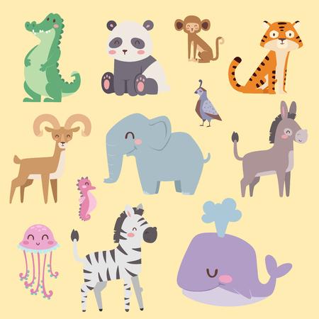 かわいい動物園漫画動物分離面白い野生動物がかわいい言語を学ぶし、熱帯の自然サファリ哺乳類ジャングル背の高い文字ベクトル イラスト。 写真素材 - 78002198