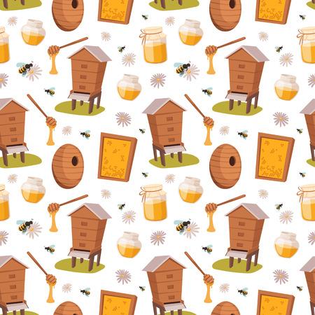 양봉장 달콤한 꿀벌 원활한 패턴 벡터 일러스트 하우스
