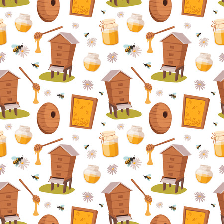Apiary honey bee houses seamless pattern vector illustrations Ilustração