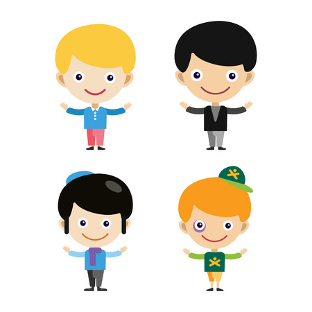 Boy portrait fun happy young expression cute teenager cartoon character and happyness little kid flat human cheerful joy casual childhood life vector illustration. Adorable preschooler male. Illustration