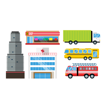 City skyscraper architecture building truck car cartoon delivery transport cargo bus logistic isolated vector illustration. Mobile fast emergency service fast moving emergency commercial automobile.