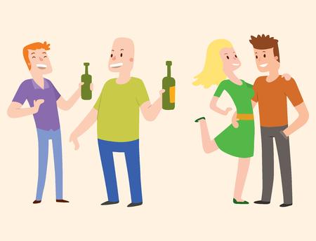 Les gens heureux des dessins animés et des personnages relationnels illustration vectorielle de style de vie. Amis détendus groupe adulte ensemble romantique vacances décontractées retraite humain. Vecteurs