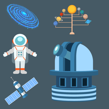 Astrologie astronomie icônes planète science univers espace radar cosmos signe univers vecteur illustration. Vecteurs