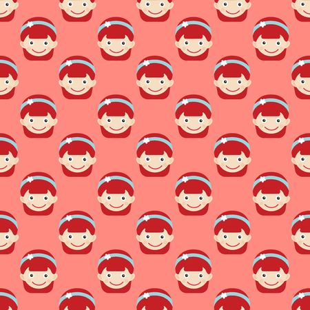 Girl face portrait fun happy young expression cute teenager cartoon character and happyness little kid flat seamless pattern joy casual childhood life vector illustration. Adorable preschooler female.