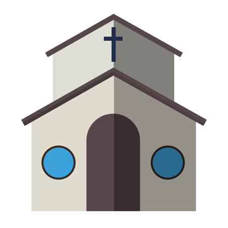 european culture: Cartoon church facade vector illustration