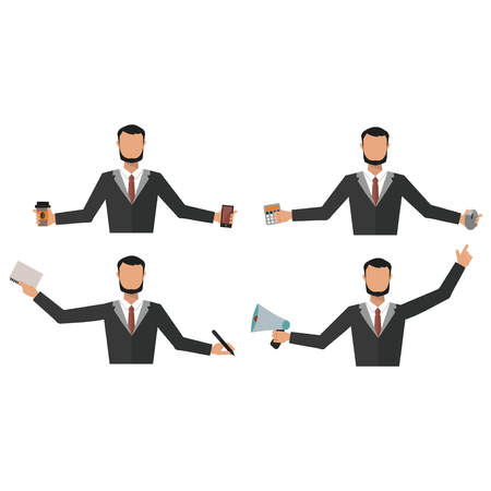 Business man office job stress work vector illustration flat style person manager character Illustration