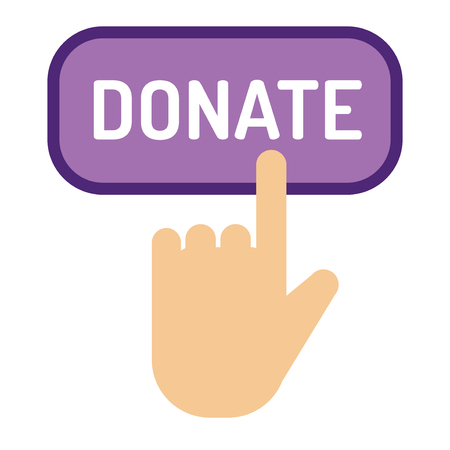 Donate button vector illustration help icon donation gift charity support give money giving symbol