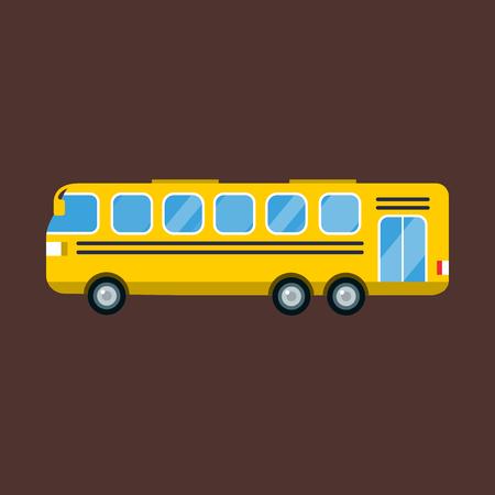 yellow schoolbus: City yellow bus vector illustration isolated road transport vehicle travel transportation tourism Illustration