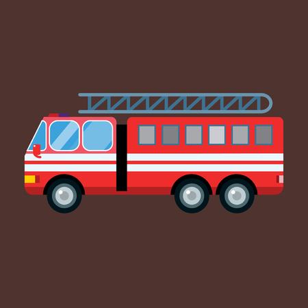 Fire truck car vector illustration isolated cartoon fast emergency service transportation Illustration