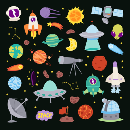Astronomy icons stickers vector set, astronaut collection