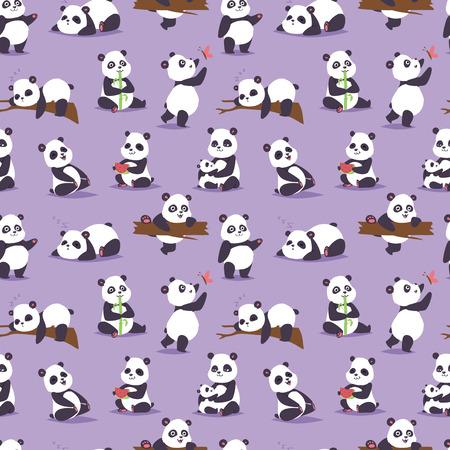 Panda bear cude character different pose vector seamless pattern Иллюстрация