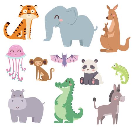 Cute zoo cartoon animals isolated funny wildlife learn cute language and tropical nature safari mammal jungle tall characters vector illustration. Иллюстрация
