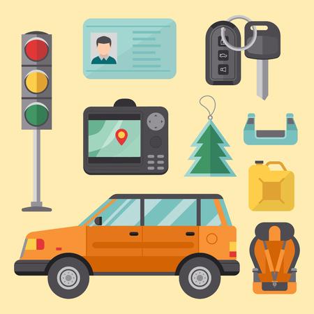 Auto vervoer automobilist pictogram symbool voertuig apparatuur service auto bestuurder tools vector illustratie. Stockfoto - 78187208