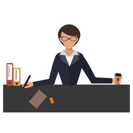 Business woman office job stress work vector illustration person manager character Stock Photo