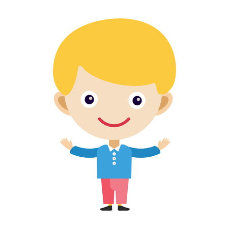 Boy portrait fun happy young expression cute teenager cartoon character little kid flat vector illustration. Stock Photo