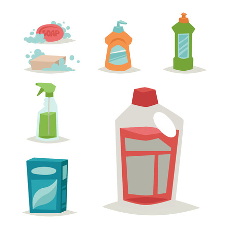 dishwashing liquid: Cleanser bottle chemical housework product and care wash plastic equipment cleaning liquid flat vector illustration. Hygiene domestic container toiletries household tool. Illustration